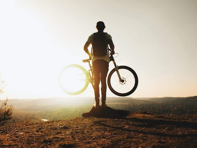 MTB Rider With Sunset View