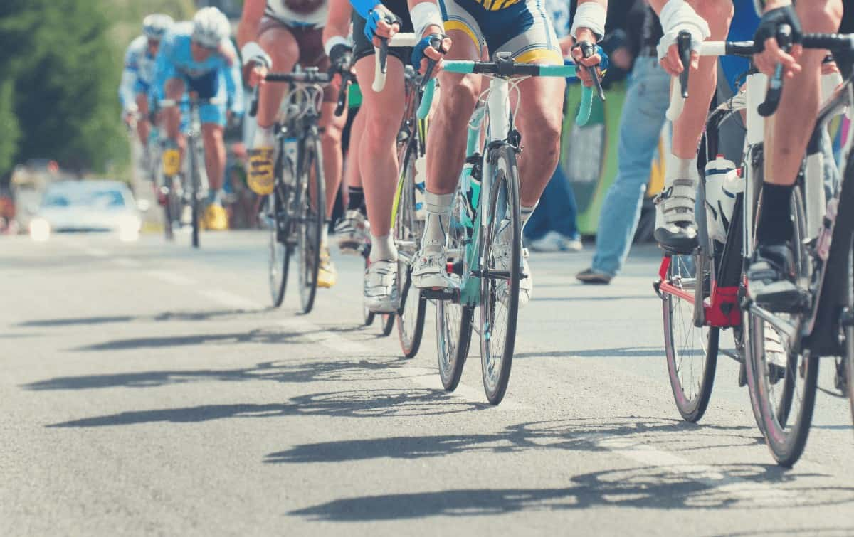 Professional Road Cycling Race With Several Bikes