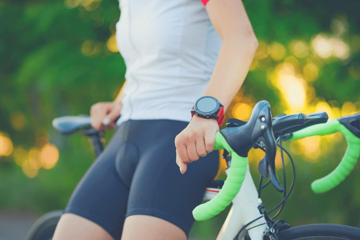 Bike Fitness Tracker on the hand of a woman road cyclist
