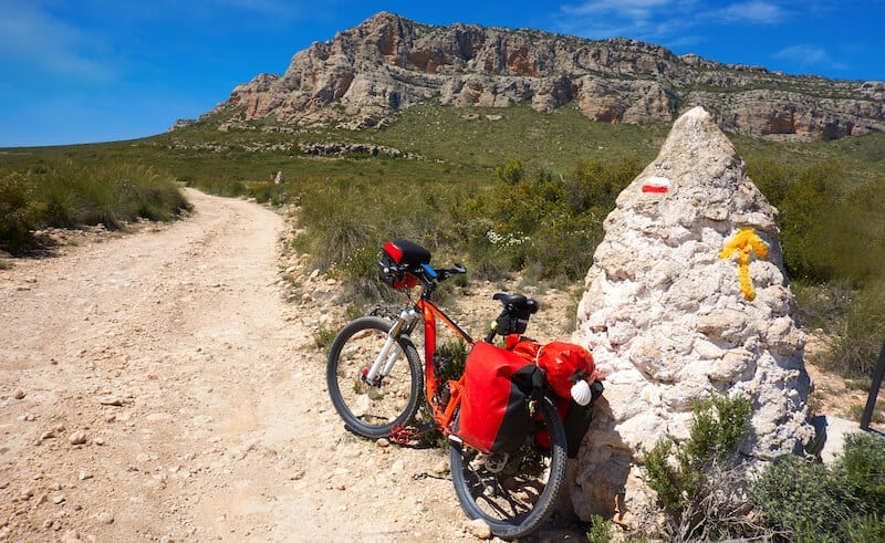 Bike With Red Panniers For Touring