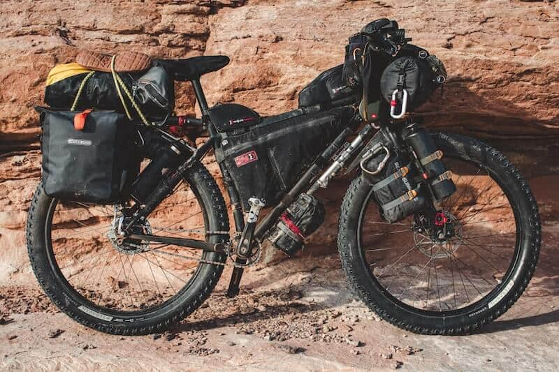 Gravel Bike Loaded Up With Pannier Bags