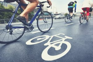 Commuting cyclists in the bike lane