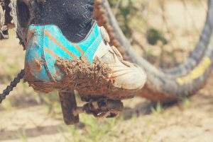 Cycle Touring Shoes Covered In Mud