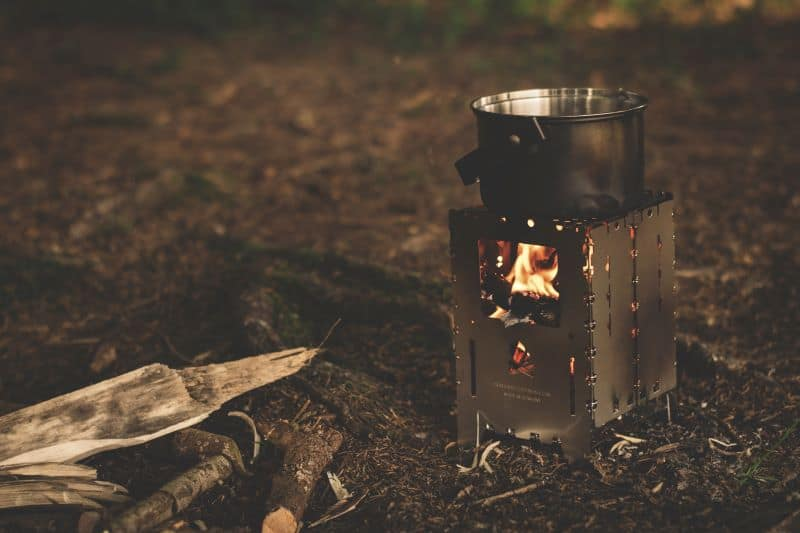 Wood fire stove brewing coffee
