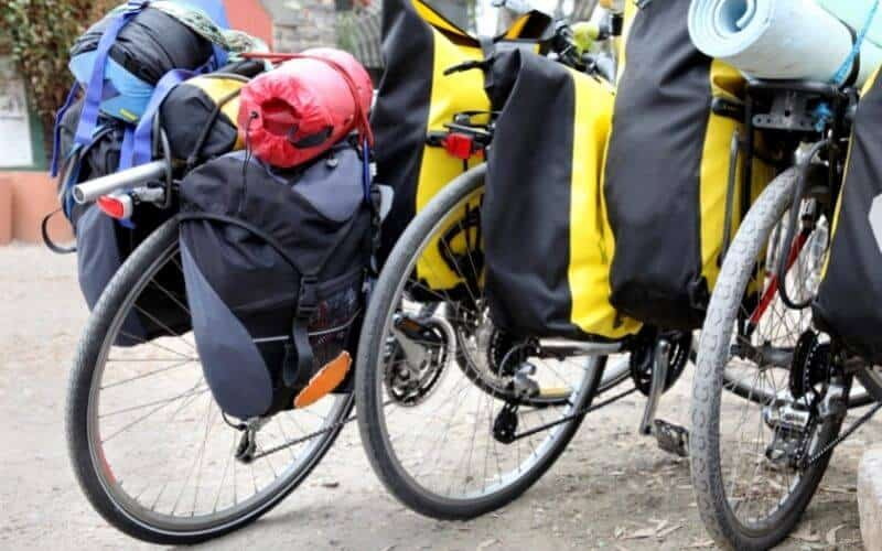 3 bikes with panniers