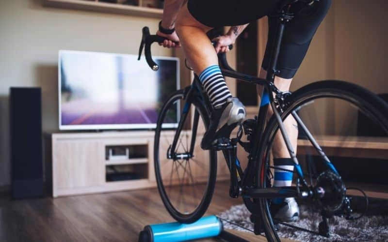 Indoor Cyclist On A Bike Trainer