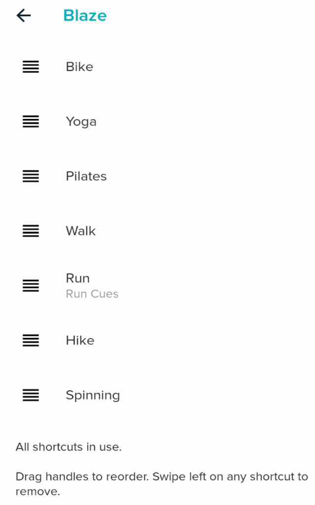 Fitbit added exercise