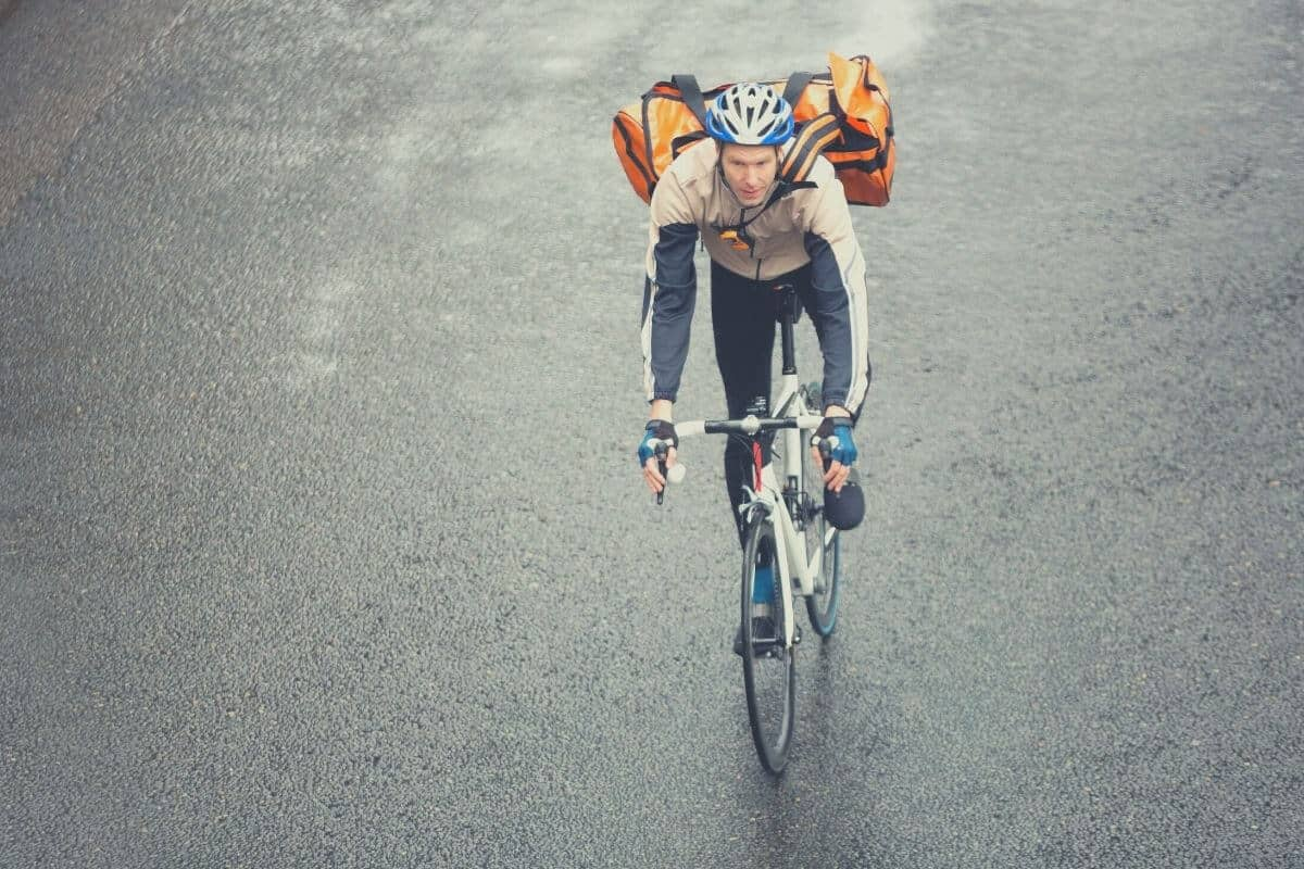 Commuting Cyclist With Backpack