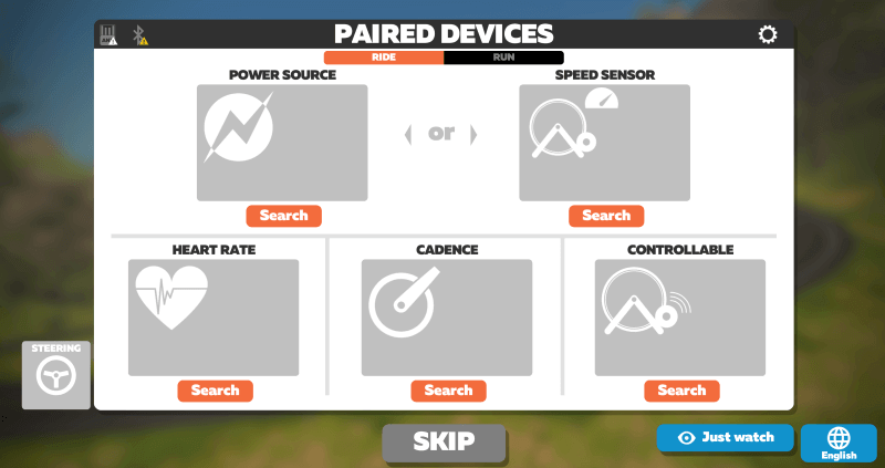 Zwift Pair Devices Screen