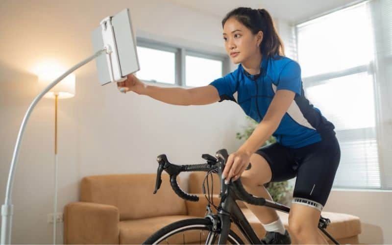 Indoor cyclist on a smart trainer
