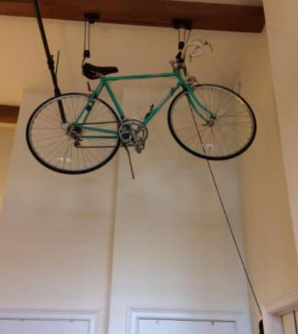 Bike Pulley system with bicycle loaded