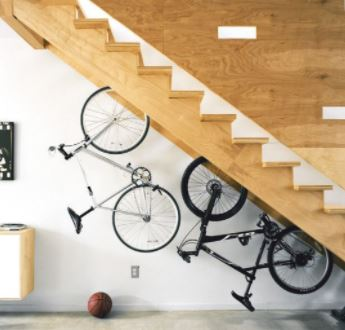 Two bicycles loaded onto a stair mount system