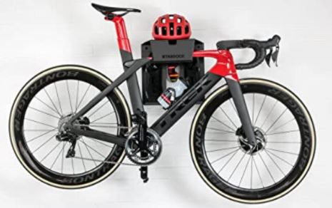 Wall mount system with Trek bike and cycling gear