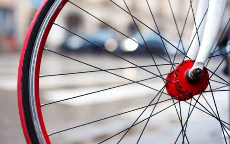 Red cycling wheel