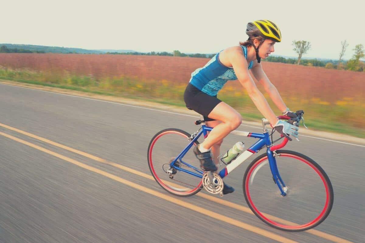 Woman cycling with tubeless tires